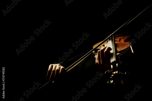 Foto auf Gartenposter Musik Violin player. Violinist playing violin hands bow