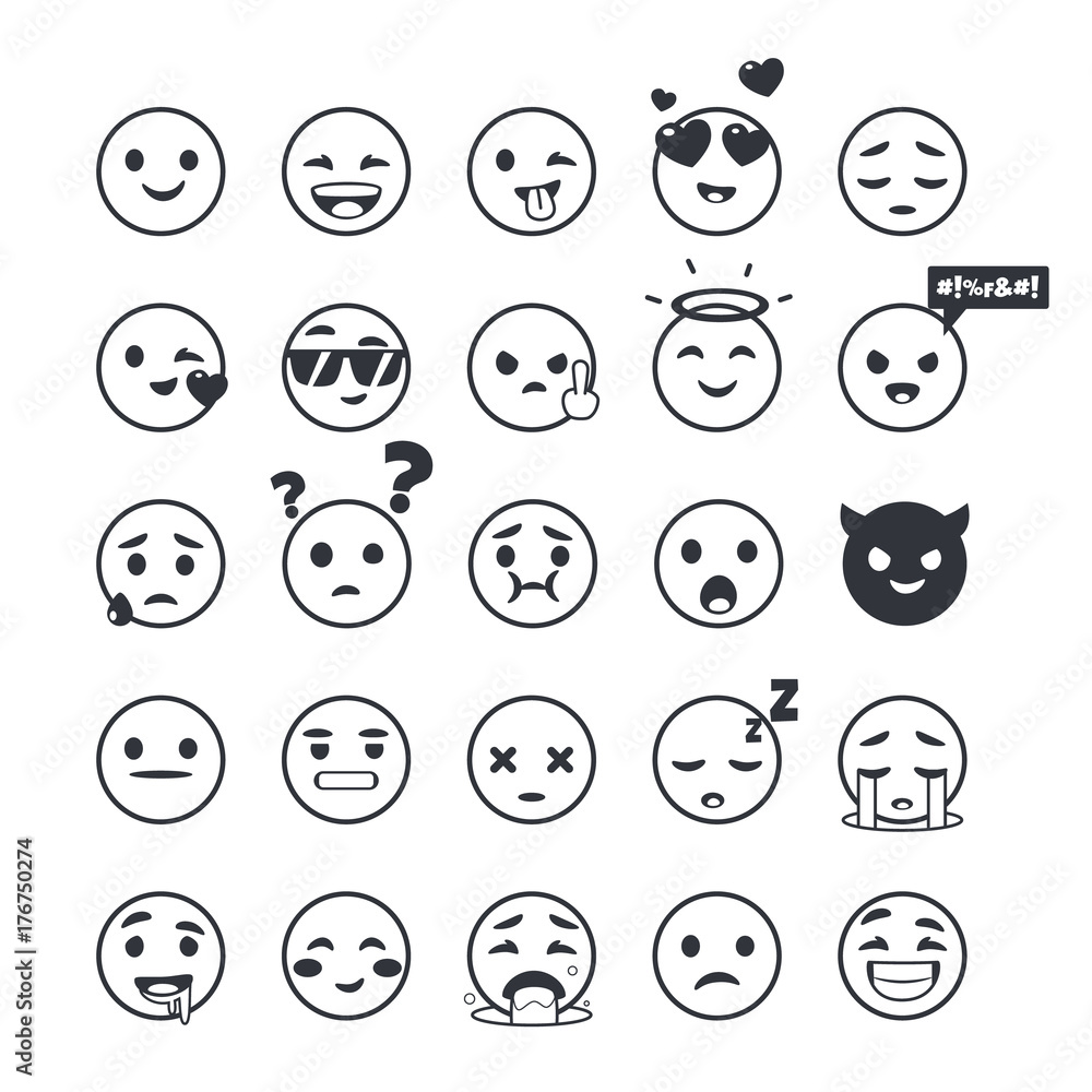 Fotografía Set Of Outline Emoticons Emoji Isolated On White