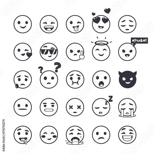 Set of outline emoticons, emoji isolated on white background, vector illustration.