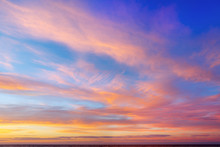 Beautiful Evening Sky With Pink Clouds. Sunset Over The Sea