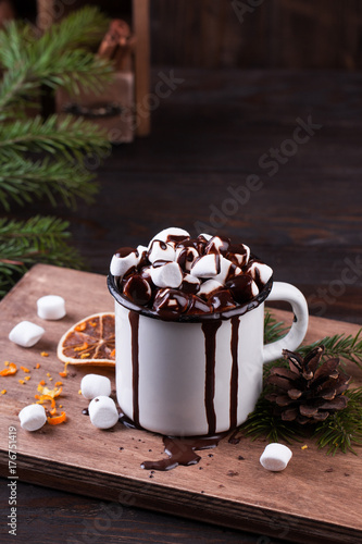 Foto op Plexiglas Chocolade Cup of hot chocolate with marshmallows on a wooden table