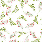 Seamless pattern with autumn leaves, berries and branches on white background. Hand drawn watercolor illustration. - 176752069