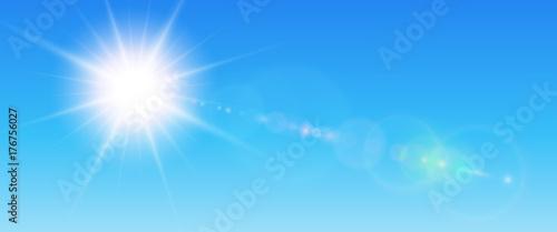 Fototapeta Sunny background, blue sun with lens flare obraz na płótnie