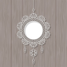 White Lace Pendant On Wooden B...