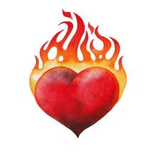 Watercolor Flaming Heart