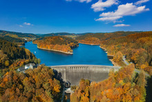 Aerial View Of The Agger Dam In Gummersbach In Autumn