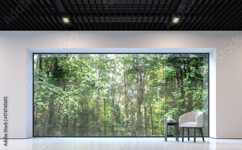 Pleasing Modern Black And White Living Room With Forest View 3D Home Interior And Landscaping Spoatsignezvosmurscom