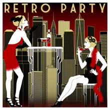 Retro Party Invitation Card. H...