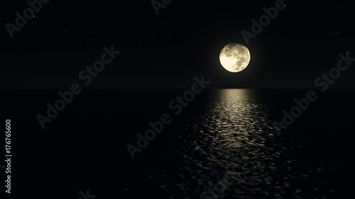 Fototapety, obrazy: Moonlight path with low fool moon above the sea realistic 3d illustration