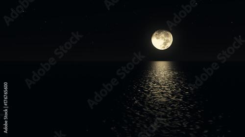 Fototapeta Moonlight path with low fool moon above the sea realistic 3d illustration obraz na płótnie