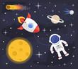Space astronaut rocket background. Vector flat cartoon illustration