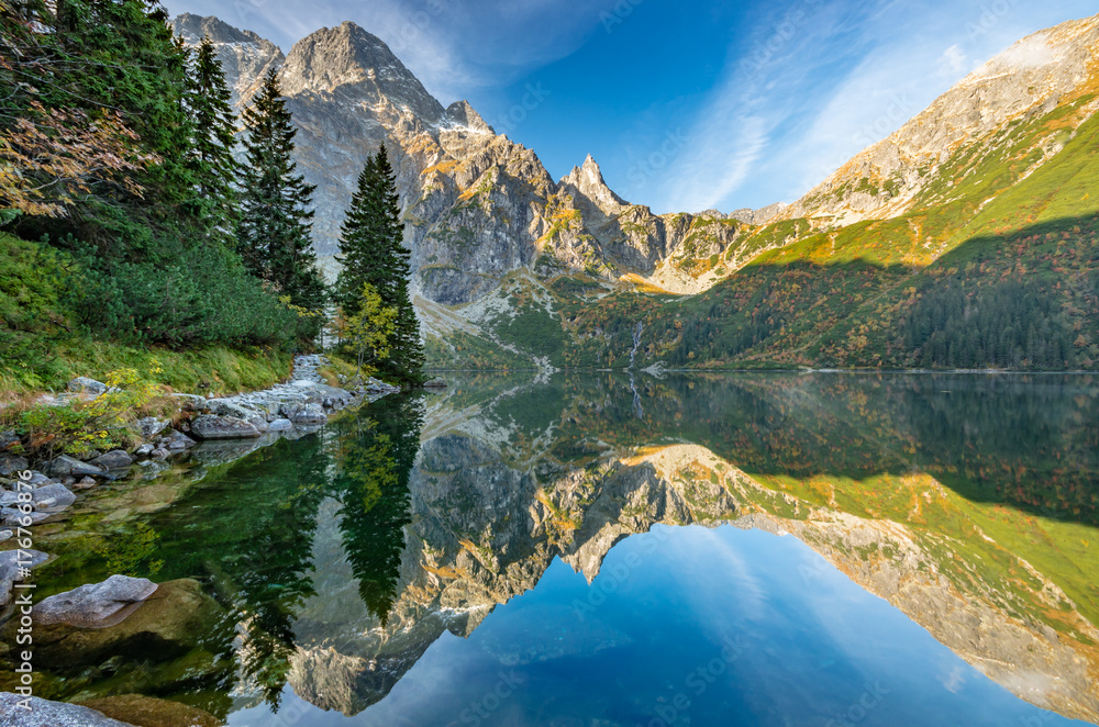 Tatra mountains, Morskie Oko lake, fall morning, Poland