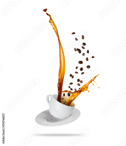 Splashing coffee drink from the cup, isolated on white background