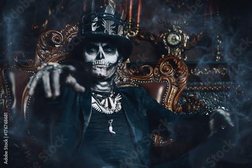 Ingelijste posters Halloween man skull make-up