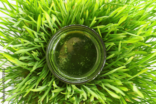 Shot of drink in wheat grass, closeup