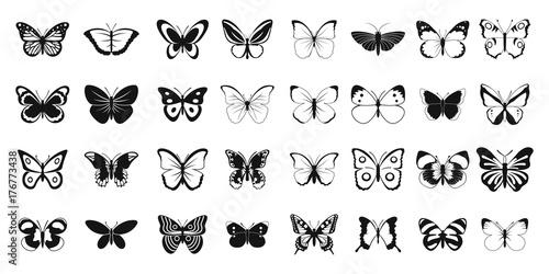 Obraz na plátně  Butterfly icon set, simple style
