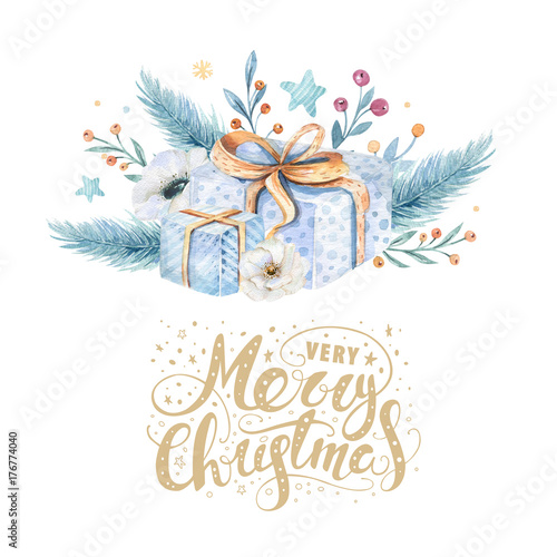 merry christmas watercolor cards with floral elements happy new year lettering posters winter flower
