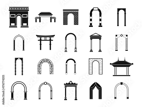Arch icon set, simple style Canvas Print