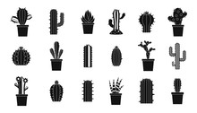 Cactus Icon Set, Simple Style