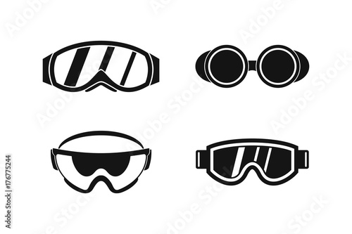 Fotografering  Protect glasses icon set, simple style