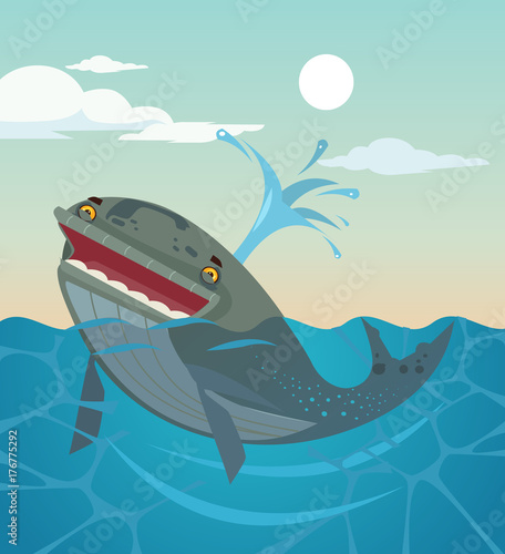 Happy smiling whale character. Vector flat cartoon illustration Fototapet