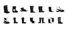 Boots Icon Set, Simple Style