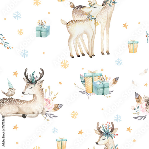 seamless christmas baby deer seamless pattern hand drawn winter backgraund with deer snowflakes