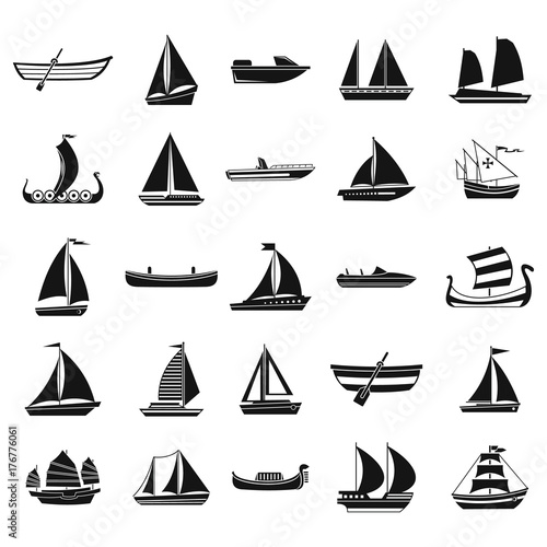 Fotomural Boat icon set, simple style