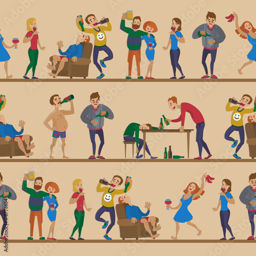 Fotografie, Tablou Drunk cartoon people vector alcoholic man and woman alcoholism drunken tipsy characters person seamless pattern background
