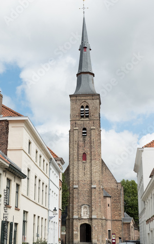 Photo Sint Annakerk (St Anne's Church) at the end of the street in Bruges, Belgium