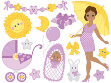 Vector Set For Baby Shower Wit...