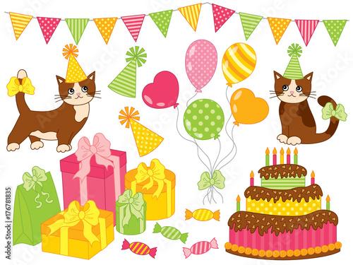 Valokuva  Vector Birthday Party Set