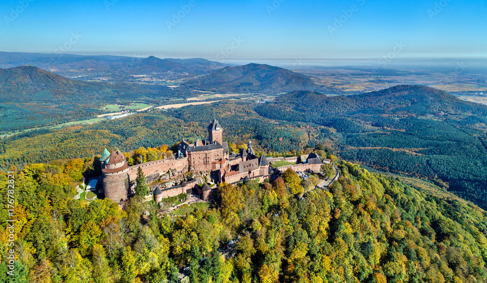 Aerial view of the Chateau du Haut-Koenigsbourg in the Vosges mountains. Alsace, France