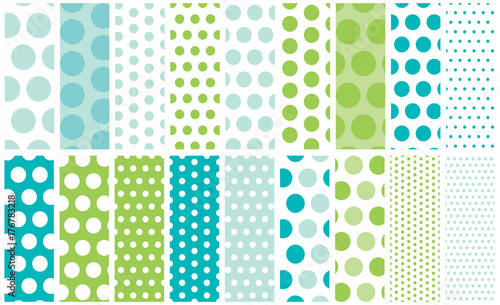 Cotton fabric 18 Polka Dots Vector Patterns. Go polka dot crazy with a collection of dots from mini to jumbo with global colors for easy color changes.