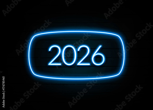 Poster  2026  - colorful Neon Sign on brickwall