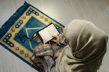Muslim Woman Praying For Allah...