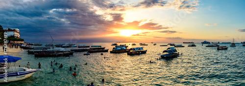 Poster Zanzibar Sunset of Stone Town in Zanzibar, Tanzania. Zanzibar is a semi-autonomous region of Tanzania in East Africa.