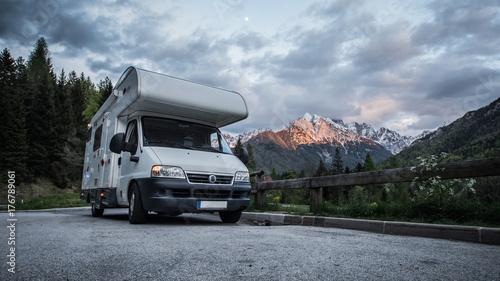 Fotografie, Obraz  Camper parked in a scenic location