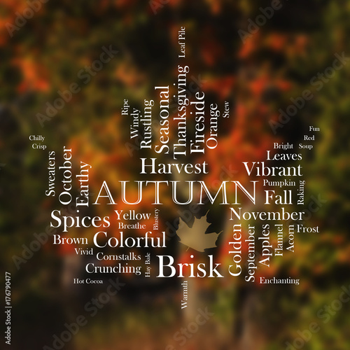 Fotografija Autumn word cloud in the shape of a leaf; white text with fall colors in the bac