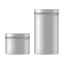 Mock Up Of Round Metal Tin Can...