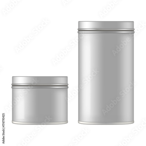 Fotografía Mock up of round metal tin can for gift