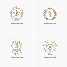 Set Of Four Linear Winner Awar...