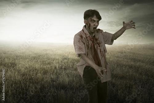 Plakat Straszny azjatykci zombie mężczyzna z krwionośnym odprowadzeniem