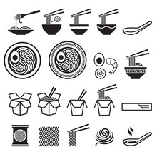 Noodle Icons Set. Vector Illus...