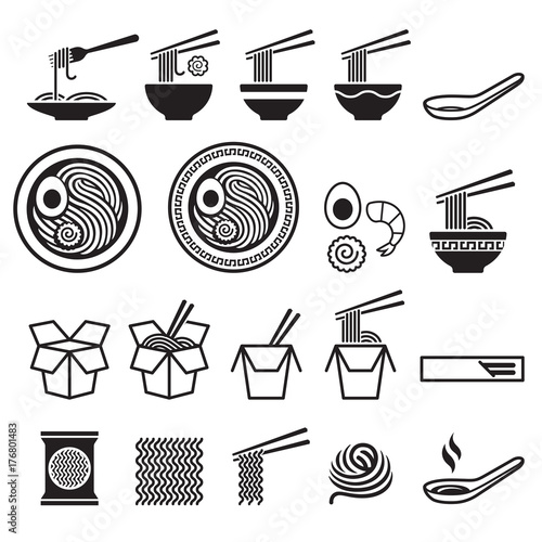 Photo Noodle icons set. Vector illustrations.