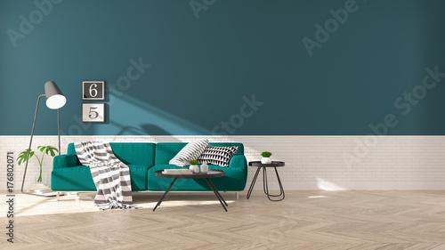 Terrific Modern Interior Of Living Room With Green Sofa On Wood Creativecarmelina Interior Chair Design Creativecarmelinacom