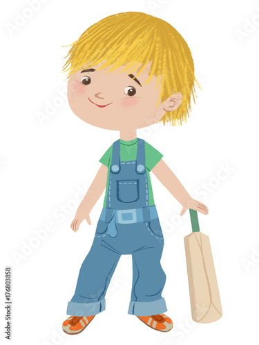 small boy holding bat cartoon character buy this stock