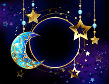Round Banner With Jewelry Crescent Moon
