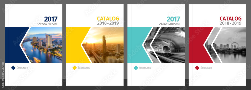 Fototapeta Cover design for annual report and business catalog, magazine, flyer or booklet blue, yellow, red, and green colors. Brochure template layout. A4 cover vector EPS-10 sample image with Gradient Mesh.
