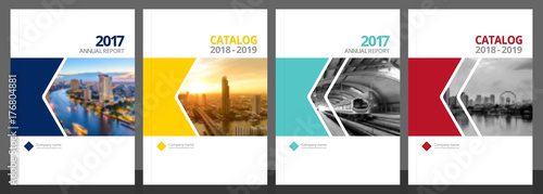 Photo Cover design for annual report and business catalog, magazine, flyer or booklet blue, yellow, red, and green colors